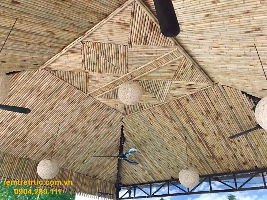 thi công trần tre trúc
